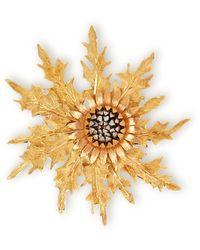 Buccellati 18k Yellow, White & Rose Gold Vintage Thistle Brooch - Metallic