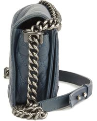 Chanel Teal Quilted Calfskin Leather Medium Le Boy Reverso - Blue