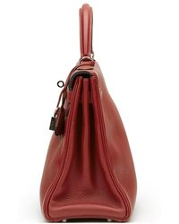 Hermès Rouge H Evergrain Leather Kelly 32cm Retourne - Red