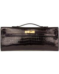 Hermès Aubergine Shiny Porosus Crocodile Leather Kelly Cut - Black