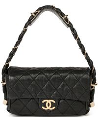 Chanel Black Quilted Aged Calfskin Leather Classic Single Flap Bag