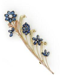 Tiffany & Co. 14k Yellow & Rose Gold Sapphire & Diamond Retro Brooch - Metallic