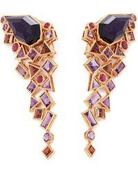 Stephen Webster 18k Rose Gold Crystal Haze Gold Struck Amethyst Earrings - Metallic