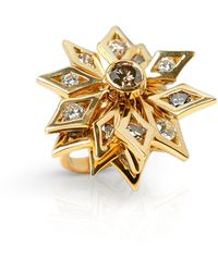 De Beers 18k Yellow Gold Fancy Brown & White Diamond Dress Ring - Metallic