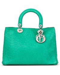 Dior Emerald Ostrich Leather Diorissimo Mm - Green