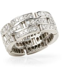 Cartier - 18k White Gold Diamond Maillon Band Ring - Lyst