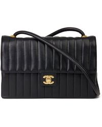 Chanel - Black Vertical Quilted Lambskin Vintage Classic Single Flap Bag - Lyst