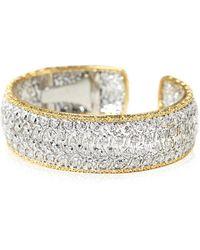 Buccellati 18k White Gold 5-sapphire Oval Bracelet W/ Diamonds - Metallic