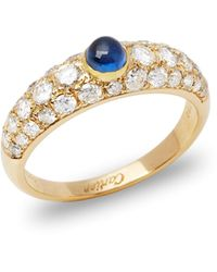 Cartier - 18k Yellow Gold Cabochon Sapphire And Diamond Ring - Lyst