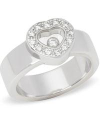 Chopard - 18k White Gold Happy Diamonds Ring - Lyst