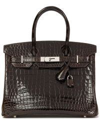 Hermès Marron Fonce Shiny Niloticus Crocodile Leather Birkin 30cm - Multicolor