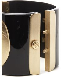 Chanel Black & Gold Tone Paris-moscou Matryoshka Doll Cuff Bracelet - Metallic