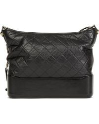 9f82c1cd3ab8 Chanel - Black Quilted Aged Calfskin Leather Large Gabrielle Hobo Bag - Lyst