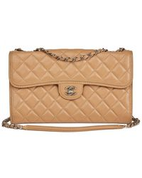 Chanel - Mocha Quilted Lambskin Classic Single Flap Bag - Lyst