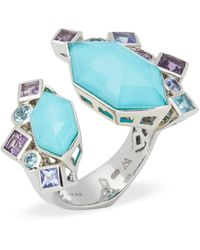 Stephen Webster 18k White Gold Crystal Haze Gold Struck Turquoise Open Ring - Metallic
