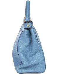 Fendi Blue Ostrich Leather Small Peekaboo