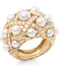 Chanel 18k Yellow Gold Cultured Pearl Baroque Matelassé Ring - Metallic