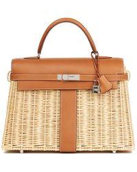 Hermès New Hermes Jaune De Naples Yellow Picnic Kelly Mini 20 Wicker Bag Handbag - Multicolor