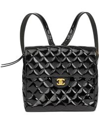 Chanel Black Quilted Patent Leather Vintage Classic Timeless Backpack