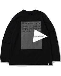 and wander Reflective Logo Ls T-shirt - Black