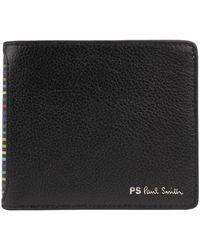 Paul Smith Billfold Wallet Ps Stripe - Black
