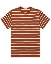 Sunspel Classic Cotton Breton Stripe T-shirt - Red