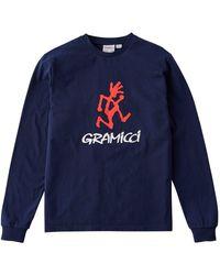 Gramicci Running Man L/s Print Back Tee - Blue