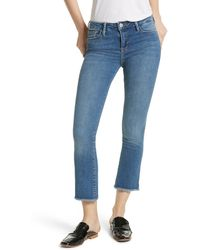 Free People Raw Hem Straight Cropped Jeans - Blue