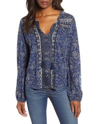 Lucky Brand Printed Peasant Top - Blue