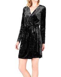 Bar Iii Crushed Velvet Wrap Dress - Black