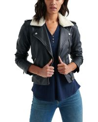 Lucky Brand Sherpa-collar Leather Jacket - Blue