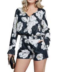 Marciano Fine Lines Floral Romper - Blue