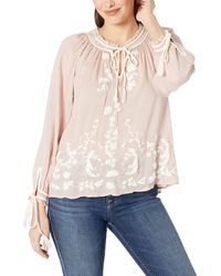 Lucky Brand Embroidered Peasant Top - Pink