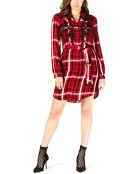 Guess Embroidered Plaid Shirtdress