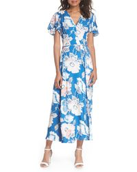 French Connection Crepe Floral-print Maxi Dress - Blue