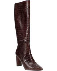 Aqua Maria Block Heel Tall Boots - Brown