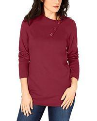 Karen Scott Cotton Button-neck Sweater - Red