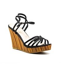 Callisto Patent Wedge Sandals - Black