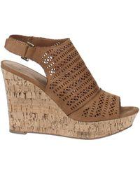 American Rag Charlize Perforated Platform Wedge Sandals - Brown