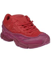 adidas By Raf Simons Ozweego Leather Lace-up Sneakers - Red