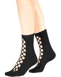 Free People Bonjour Cutout Ankle Socks - Black