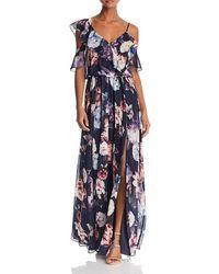 Aqua Floral-print Ruffle Gown - Blue