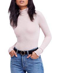 Free People - Make It Easy Mock Neck Thermal Long Sleeve Top - Lyst