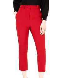 Line & Dot Rosey Cropped Pants - Red