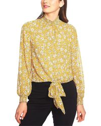 1.STATE Wild Blooms Smocked Neck Blouse - Yellow