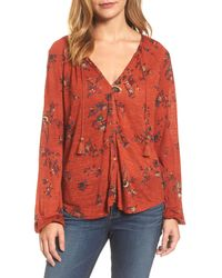 Lucky Brand Printed Peasant Top - Red