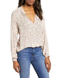 Lucky Brand Printed Peasant Top - Multicolor