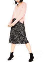 Bar Iii Floral-print Midi Skirt - Black