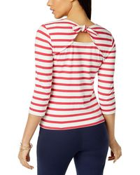 Maison Jules Juillet Cotton Striped Bow-embellished Top - Red
