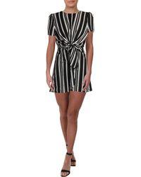 Aqua Striped Keyhole Casual Dress - Black